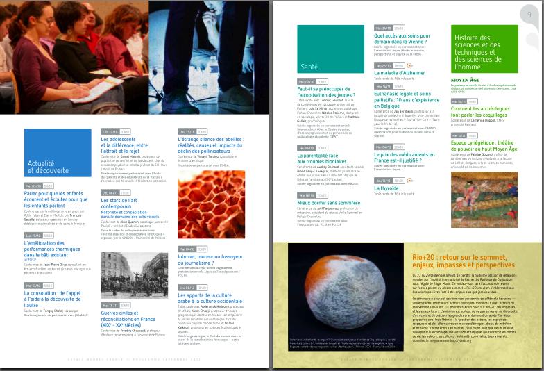 Sortie du programme de septembre 2012 à janvier 2013 de l'Espace Mendès France