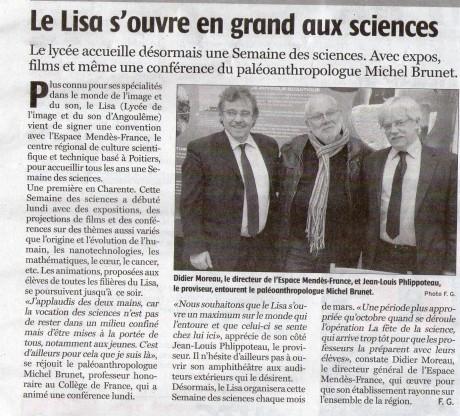 Article de la Charente-Libre du 8 mars 2013.