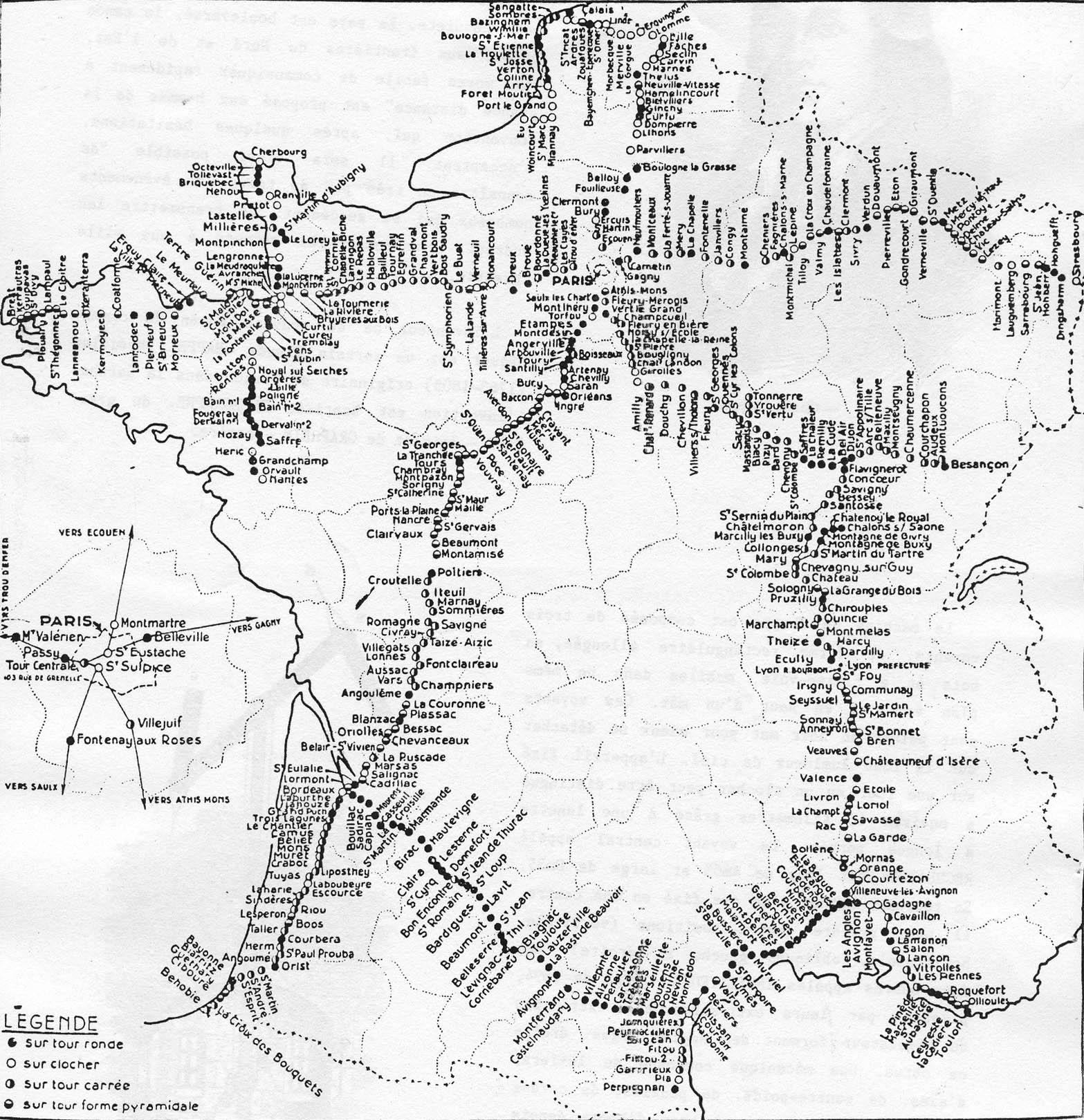 Carte des lignes de télégraphe Chappe établies entre 1793 et 1852