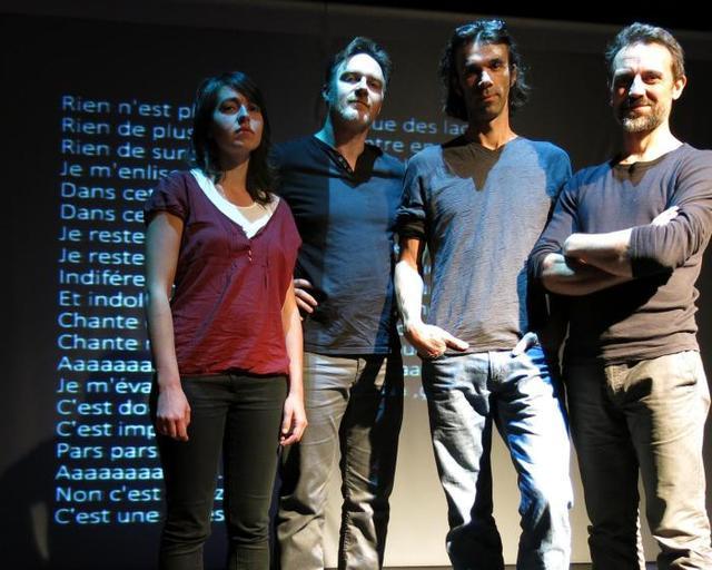 Alexandra Gaudechaux, Fabien Maheu, Alexis Manuel, Guillaume Michelet, comédiens multicartes. - dr